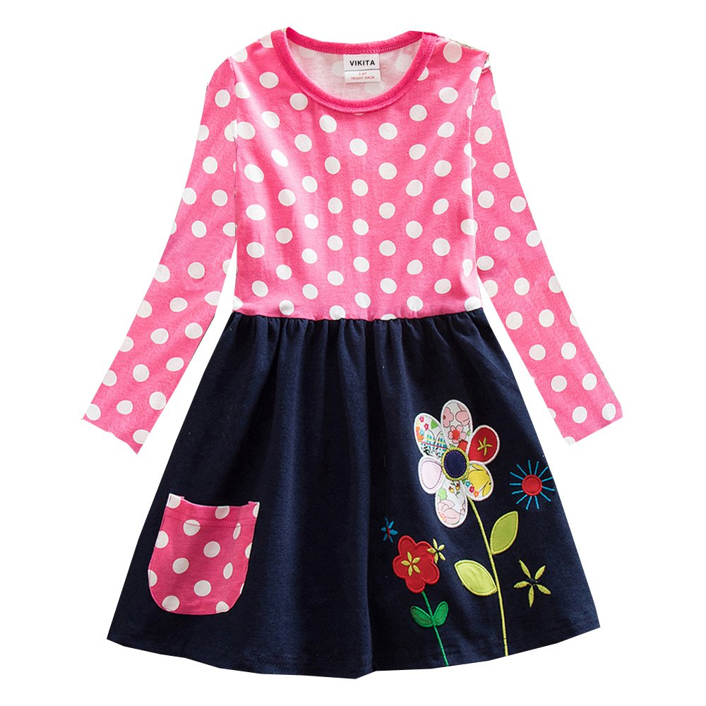 VIKITA Baby Girl Cartoon Flower Cotton Dress Long Sleeve Winter Dresses for 2-8 Years Little Girls