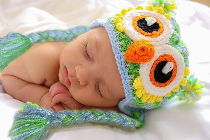 amazon com blue owl baby animal hat owl hat baby newborn owl hat