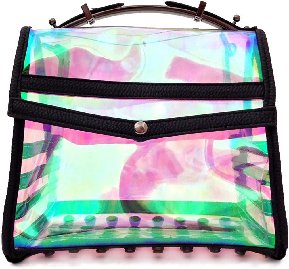 16 Holowood Clear Holographic Studded Satchel