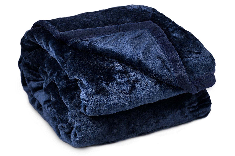 Archangel 2 Ply Queen Solid Mink Blanket - Navy Blue