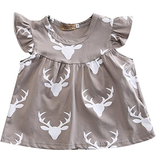 b79f7d63f98 Amazon.com  Mrs.Baker Home Infant Baby Girl Gray Deer Head Pattern Ruffled  Sleeve Romper Short Dress  Clothing