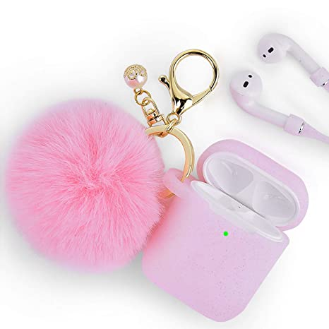 Airpods Case   Filoto Airpods Silicone Glitter Cute Case Cover With Pompom/Keychain/Strap For Apple Airpods 2&1, 2019 Newest 360° Protective Air Pods Charging Case Cover (Glitter Light Pink) by Filoto