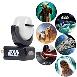 Projectables Star Wars 6-Image Plug-in Night, Kids, Collector's Edition, Light Sensing, Yoda, Darth Vader, Ceiling, Wall, or Floor, 43646, Multicolor