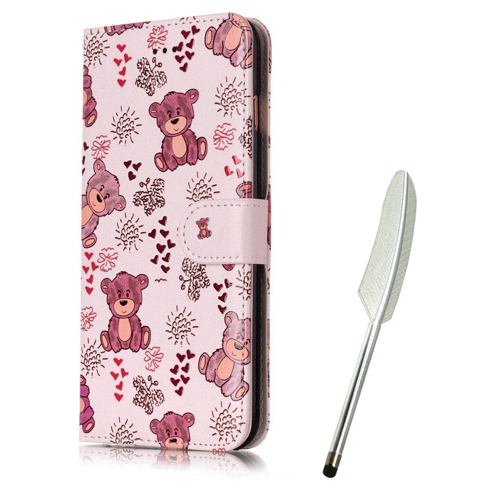 Galaxy S6 Flip Case mit Eule, Edaroo Handyhülle Galaxy S6 PU Leder Flip Wallet Cover in Book Style Stand Case Card Slots Handytasche Ledertasche Schutzhülle Tasche Karteneinschub und Magnetverschluß Kratzfestes und Schmutzunempfindliches für Samsung Galaxy