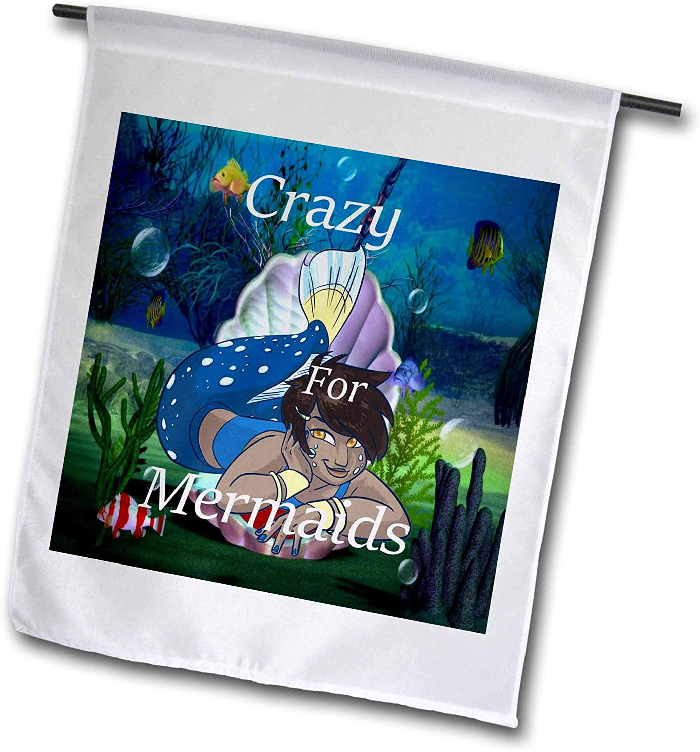 3dRose Lens Art by Florene - Crazy for Mermaid N Fairies - Image of Words Crazy for Mermaids with African American Mermaid - 12 x 18 inch Garden Flag (fl_310633_1)