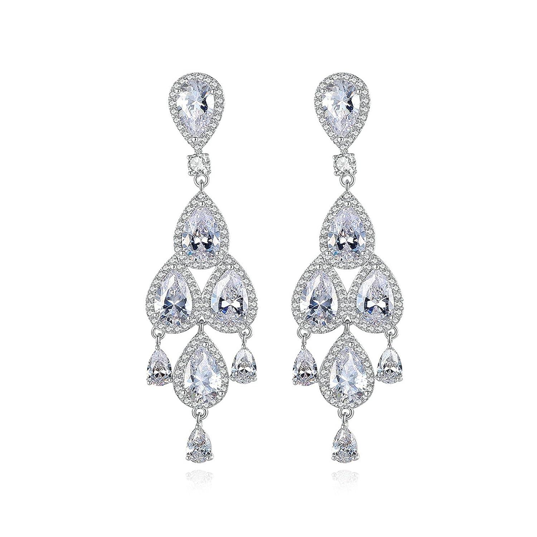 Beydodo Fashion Earrings Dangle Rhinestone Earrings Wedding Pear and Round Cut Cubic Zirconia