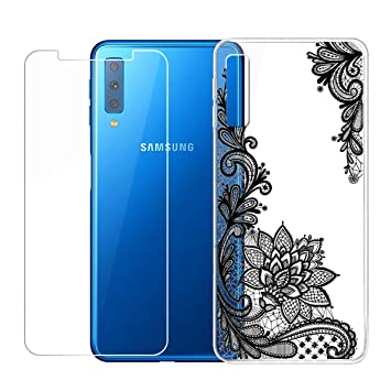 QFSM Samsung Galaxy A7 2018 Funda Silicona Carcasa TPU Case Cover + 1 Pack HD Película Protectora Cristal Templado para Samsung Galaxy A7 2018 -WM108