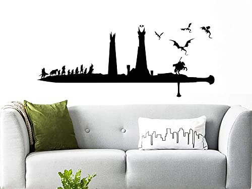 Amazon Com Lord Of The Rings Wall Decal Lotr Vinyl Stickers Silhouette Lord Of The Rings Wall Art Lord Of The Rings Gift Dragon Bedroom Decor Nn65 Handmade