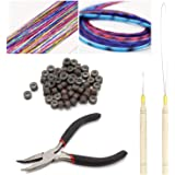 Ryalan Professional Hair Extension Kit Plier Plus Pulling Hook Bead Device and Loop Needle Tool Kits with 200 Pieces…