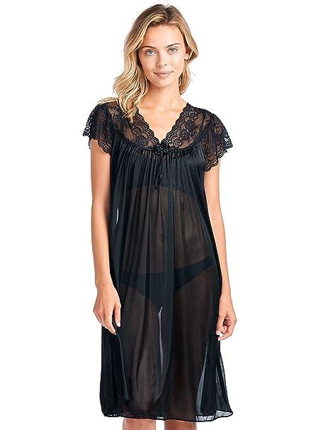 62ac0470d2 Casual Nights Women s Fancy Lace Neckline Silky Tricot Nightgown - Black -  Medium