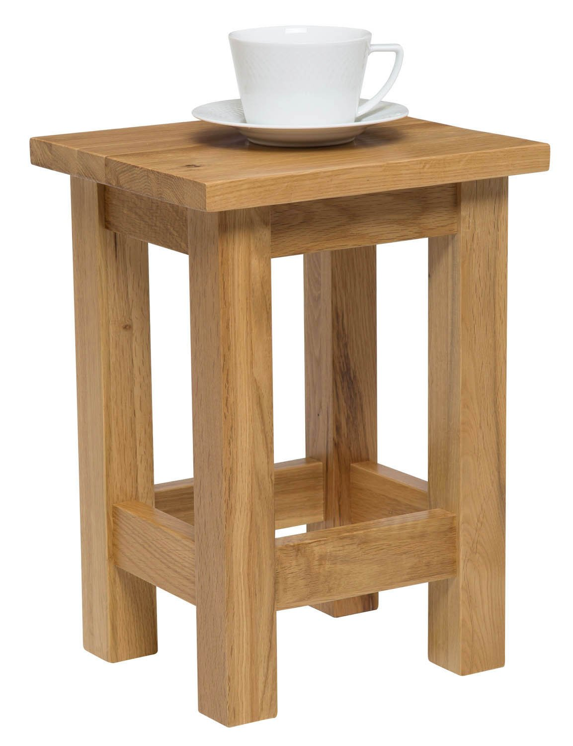 Waverly Oak Small Side Coffee Table In Light Oak Finish | Solid Wooden Slim  Occasional/