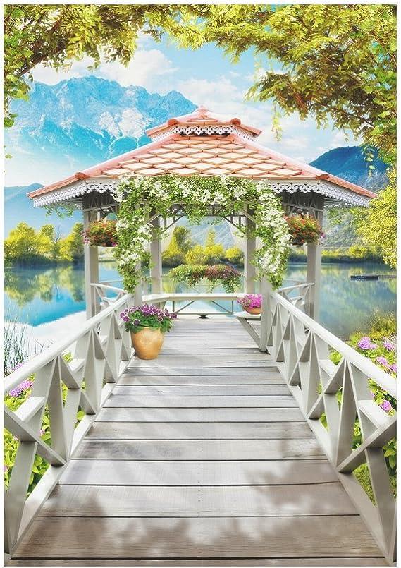 interestprint Wooden Pier puente poliéster bandera de Jardín Casa Banner 12 x 18 inch, bandera de verano lago decorativo para boda fiesta Patio Decoración de la casa al aire libre: Amazon.es: Jardín