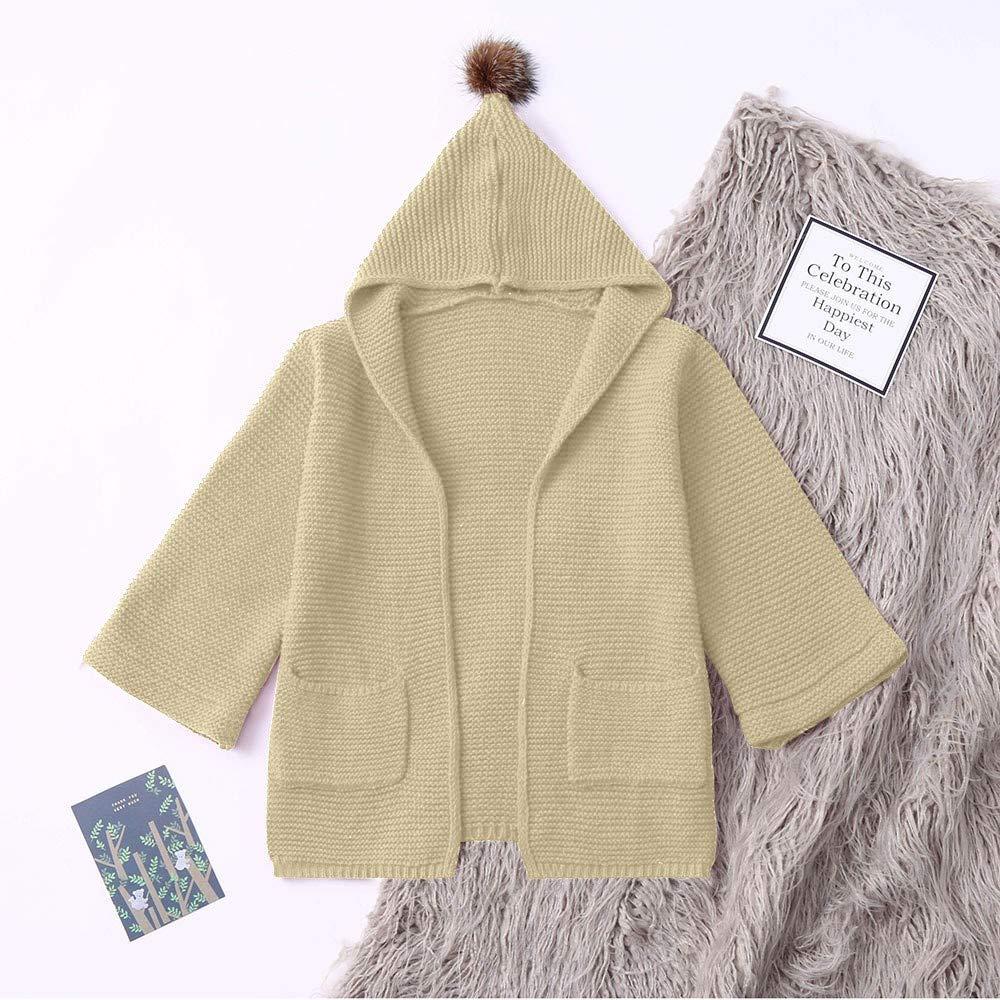 Winter Baby Coat,Fineser Children Toddler Kids Baby Girls Solid Hooded Hair Ball Knitted Sweater Cardigan Coat 3 Color