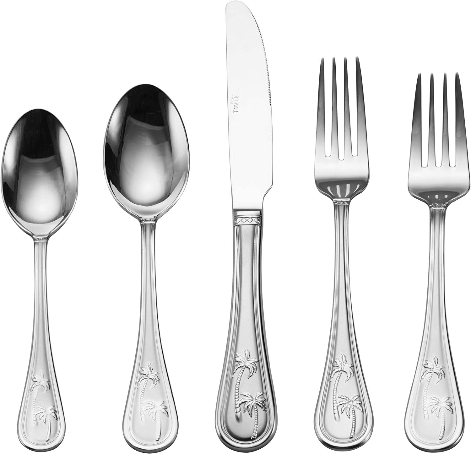Towle Everyday 5112956 Palm Breeze 20-Piece Stainless Steel Flatware Set, Service for 4