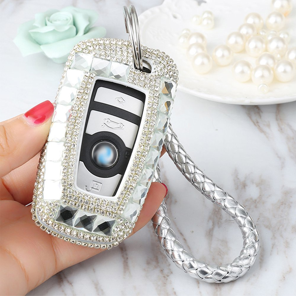Thor-Ind Luxury Bling Crystal Diamond Key Fob Case Cover KeyChain For BMW 1 3 4 5 6 7 Series X3 X4 M5 M6 GT3 GT5 3/4 Buttons Keyless Entry Remote Control Smart Key Protective Shell Bag (A Type-silver) by Thor-Ind (Image #5)