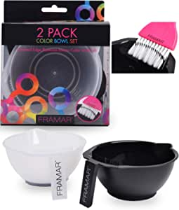 Framar Color Bowl with Brush Cleaner Set - Mixing Bowls - For Hair Color, Hair Bleach, Hair Dye, Coloring - Coloring Set - 2 Pack Bowls