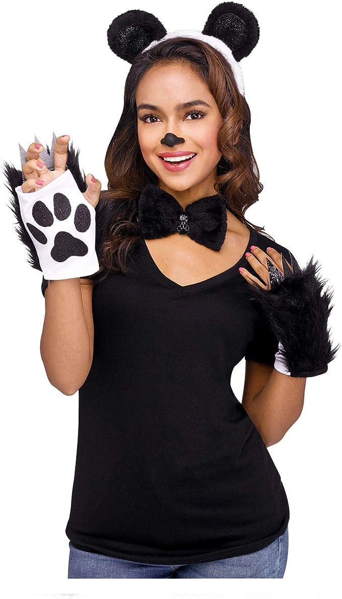 Gargantilla y guantes para disfraz de oso panda para mujer: Amazon ...