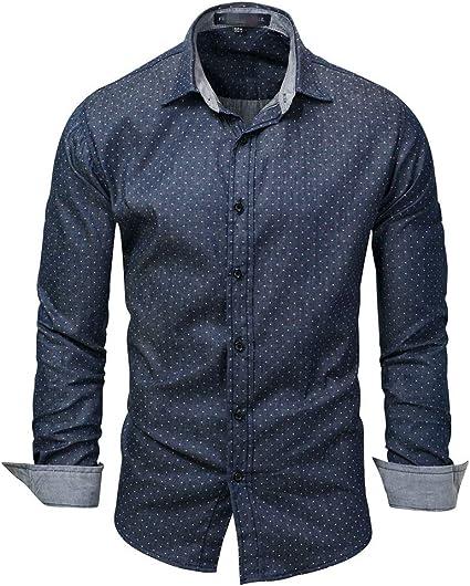 Cvbndfe Camisa de Vestir para Hombre Camisa Vaquera clásica ...
