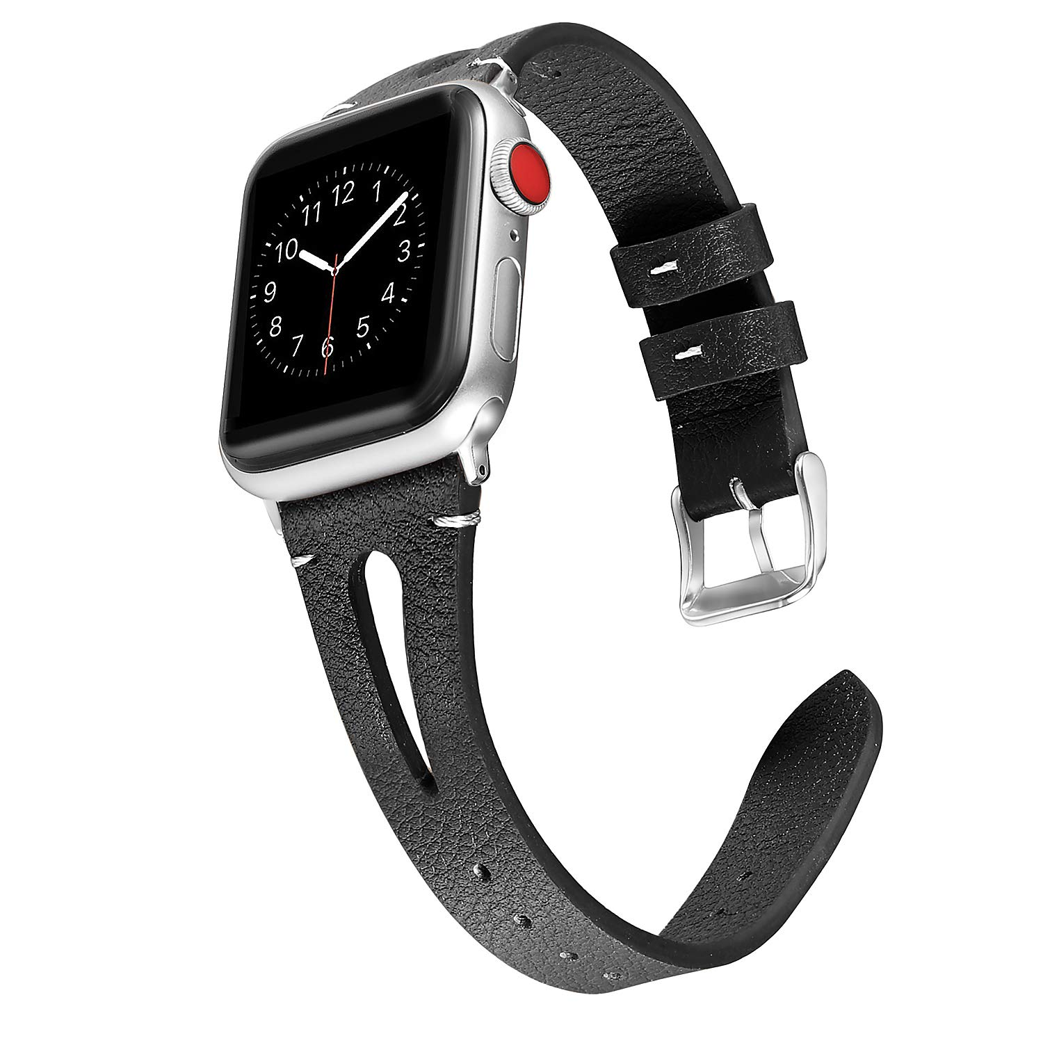 Secbolt Leather Bands Compatible with Apple Watch Band 38mm 40mm iwatch Series 4 3 2 1, Slim Strap with Breathable Hole Replacement Wristband Women, Black by Secbolt