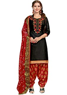 407fa5e6fb Amazon.com: Ladyline Silk Embroidered Plain Salwar Kameez with ...