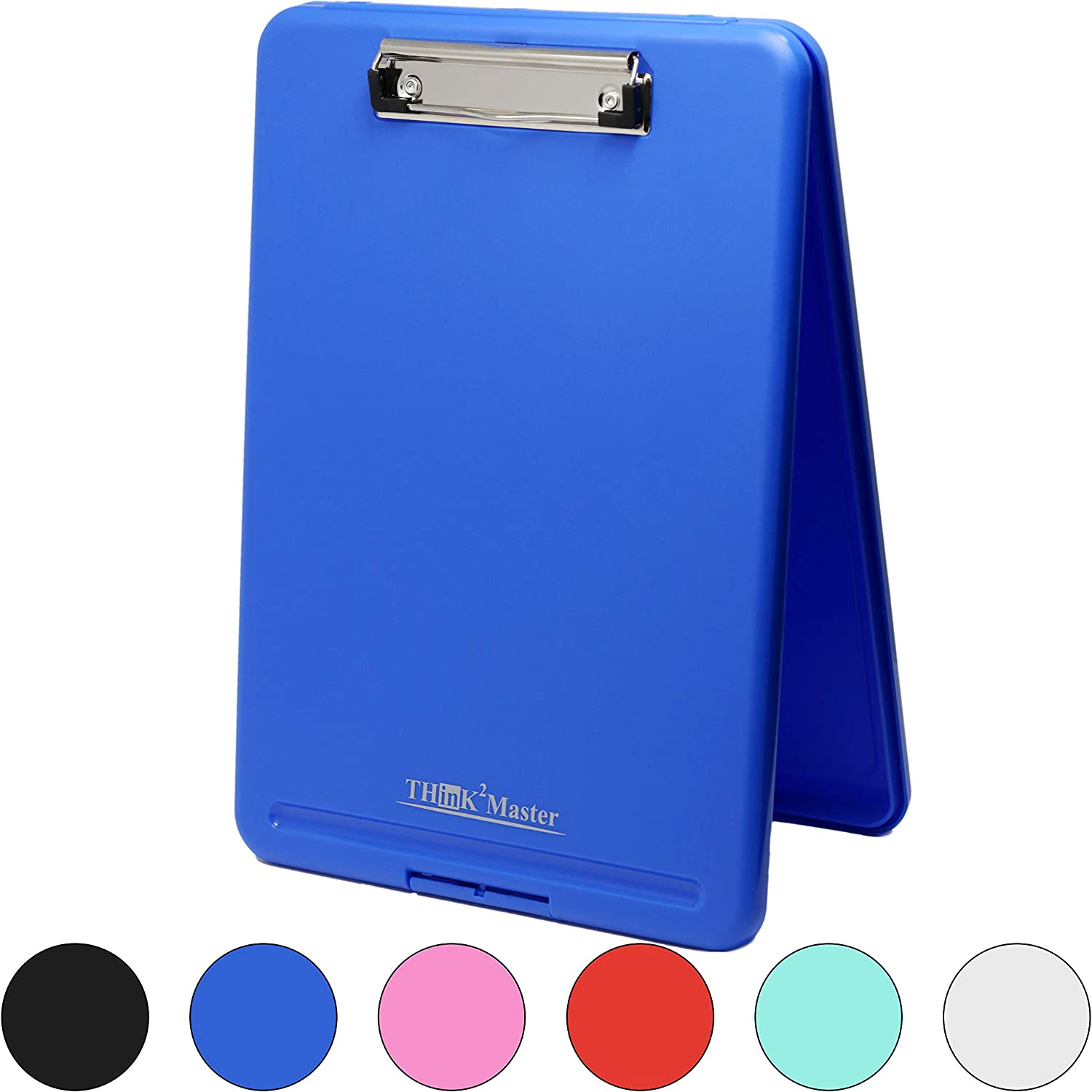 Think2Master Blue Plastic Storage Clipboard. | 25% Heavier & 25% Sturdier| Heavy Duty and Won't Flex or Bend Like Other Brands (Compare The Weight). Storage Compartment Holds 150 Letter Sized Paper.