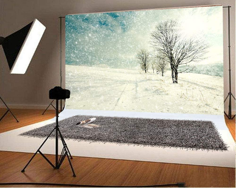 10x6.5ft White Winter Photography Backdrops Snowing Photo Background Christmas Microfiber Soft Fabric Backdrop for Photoshoot