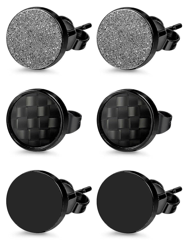 BESTEEL 3Paires Acier Inoxydable Boucles d/'Oreilles Homme Femme Stud Clou d/'Oreilles Ronde Mate Piercing Cartilage 6MM 8MM