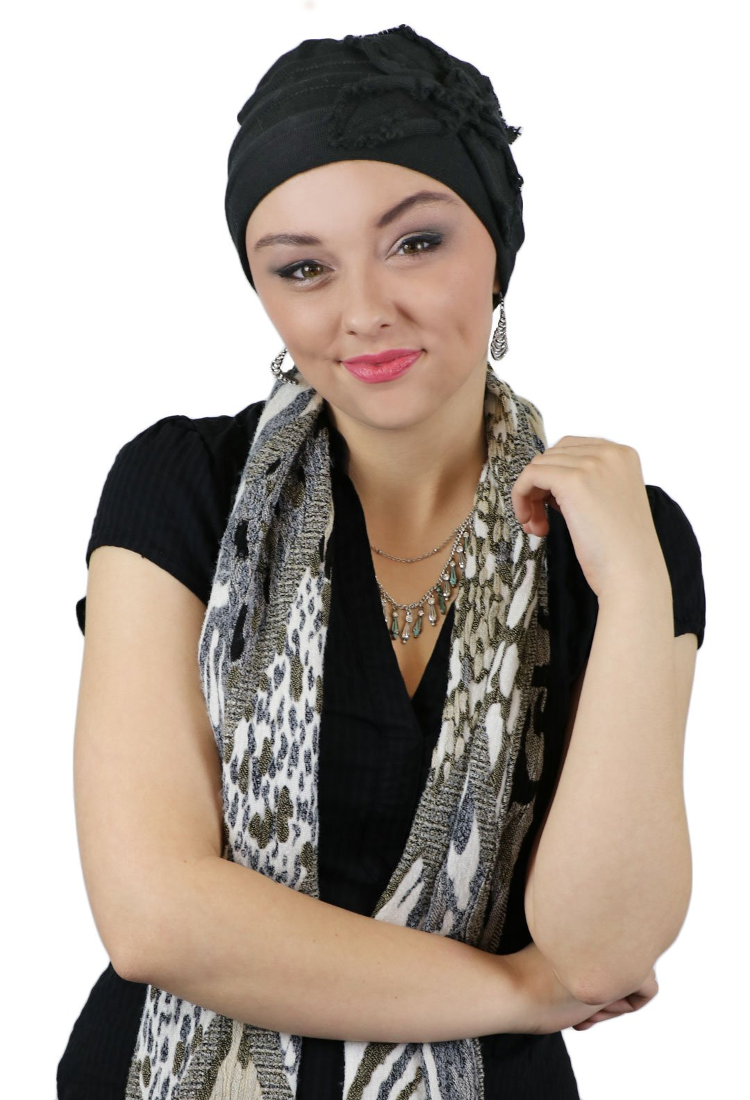 Hats For Cancer Patients Women Chemo Headwear Head Coverings Butterfly Beanie Parkhurst (BLACK) by Hats Scarves & More (Image #2)