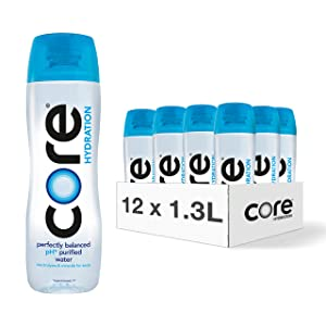 CORE Hydration, Nutrient Enhanced Water, Perfect 7.4 Natural pH, Ultra-Purified With Electrolytes and Minerals, Cup Cap For Sharing, 44 Fl Oz, Pack of 12