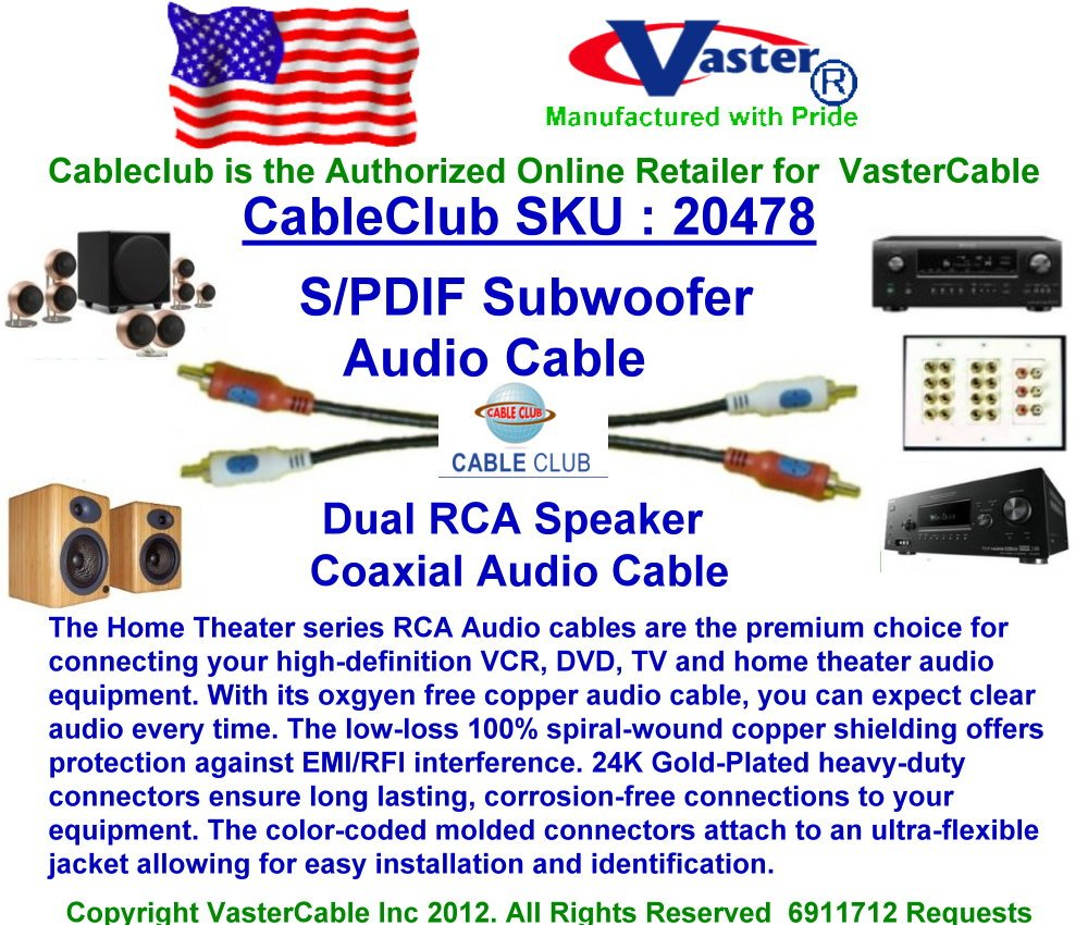 SuperEcable - 25 Ft 24K Gold Plated S/PDIF Subwoofer, Dual RCA Speaker Coaxial Audio Cable