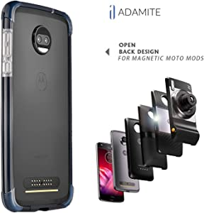 ADEMITE Moto Z2 Force Case Bumper Black/Clear Compatible with Moto Mods Does Not Fit Moto Z (2016), Moto z Play (2016), Moto Zforce 1st Generation (2016)