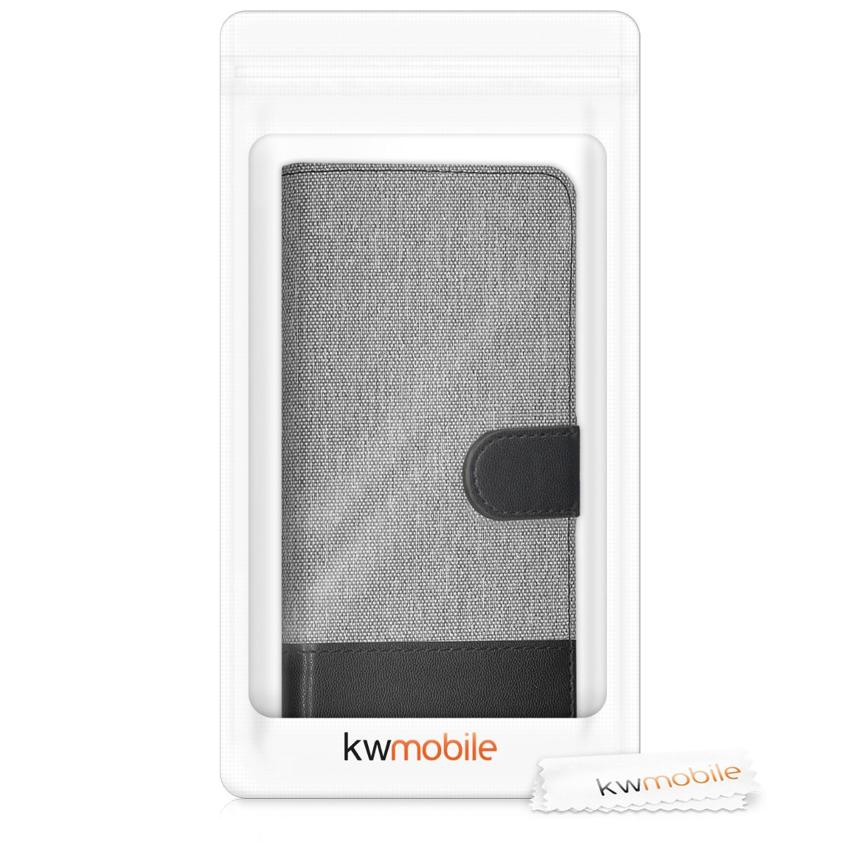 Fabric and PU Leather Flip Cover with Card Slots and Stand Grey//Black kwmobile Wallet Case for LG G6