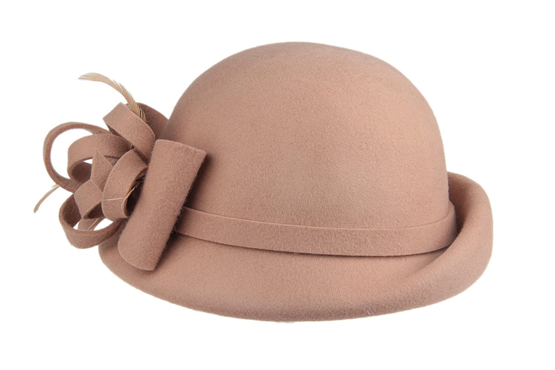 60b506c73 Dantiya Women's 100% Wool Church Dress Cloche Hat Plumy Felt Bucket Winter  Hat