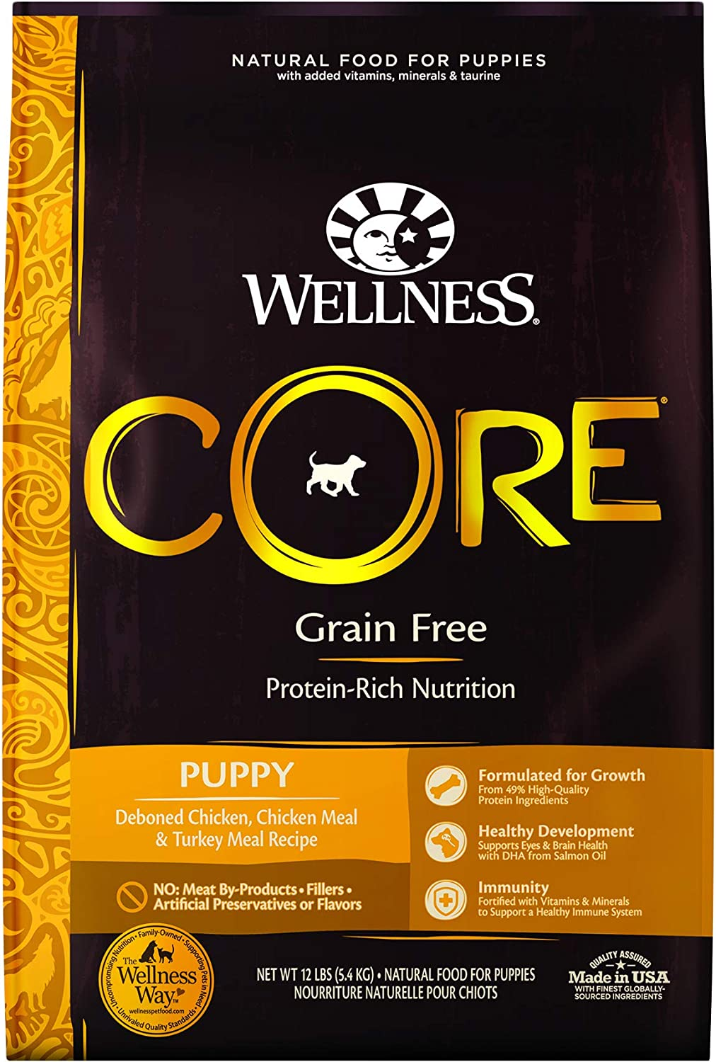Wellness CORE Natural Dry Grain Free Puppy Food, Chicken & Turkey, 26-Pound Bag