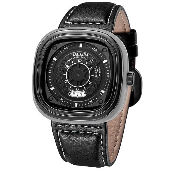 MEGIR Relojes Elegante Hombre Analogico de cuarzo, cuadrado dial, cuero clasico negro, cronógrafo