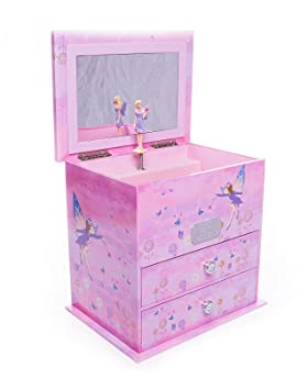 Personalised Wooden Purple Fairy Design Musical Jewellery Box Gift