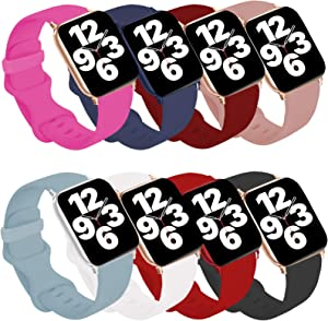 Idon 8-Pack Compatible for Apple Watch Bands 44MM/42MM M/L, Soft Silicone Replacement Sport Watchbands Compatible for Apple Watch SeriesSE/6/5/4/3/2/1 All Versions
