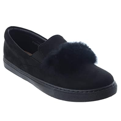 NEW WOMENS LADIES TRAINERS FAUX SUEDE SLIP ON FLAT FUR SNEAKERS PUMPS SHOES SIZE