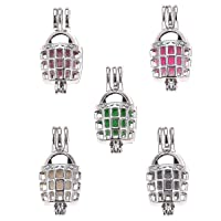 THREE FISH 10pcs DIY Baseball Helmet Pearl Cage Bright Silver Beads Cage Locket Pendant Jewelry Making Supplies-for Oyster Pearls, Essential Oil Diffuser, Fun Gifts. (Baseball Helmet)