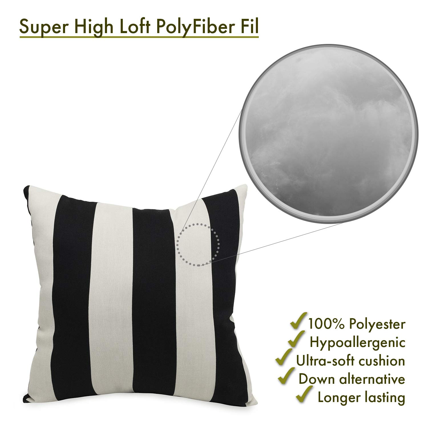 Majestic Home Goods Pillow, X-Large, Vertical Stripe, Black