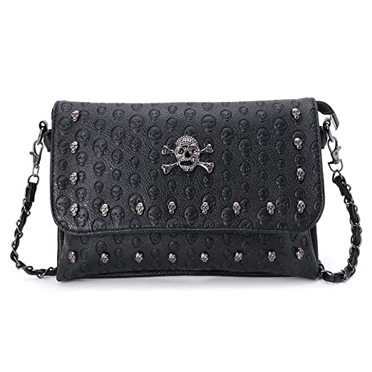 Amazon.com: JAGENIE Women Handbag Rivet Gothic Skull Bags Chain Messenger Crossbody Shoulder Bag: Home & Kitchen