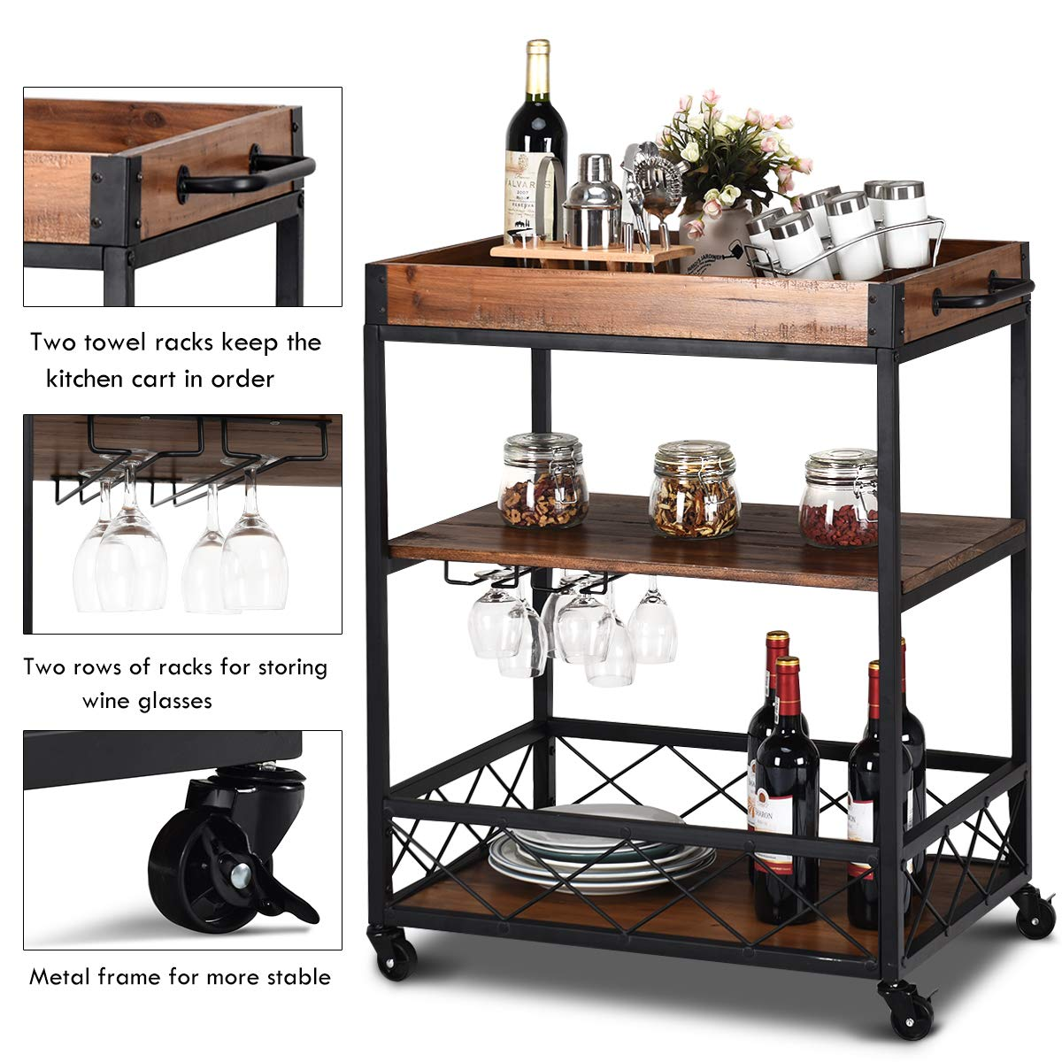 Giantex Kitchen Trolley Cart Island Rolling Serving Carts Utility Cart 3 Tier Storage Shelf with Glass Holde, Handle Racks, Lockable Caster Wheels Kitchen Carts Islands w/Removable Wood Box Container by Giantex (Image #5)
