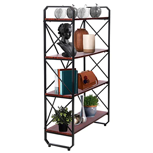 OMISHOME Heavy Duty Iron-Framed 4 Tier Bookshelf – Great for Home or Office – Sturdy Metal Wood Construction – Use as a Storage Rack or Book Shelf – Great as a Gift
