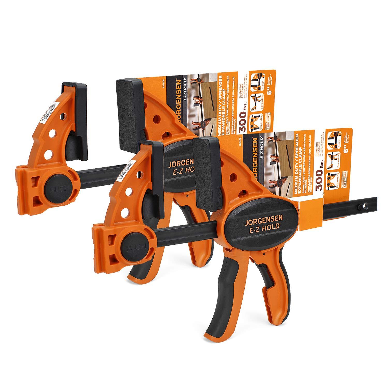 Jorgensen 6'' One Hand Clamp/Spreader - 2-pack, Medium Duty, E-Z Hold Bar Clamps Set