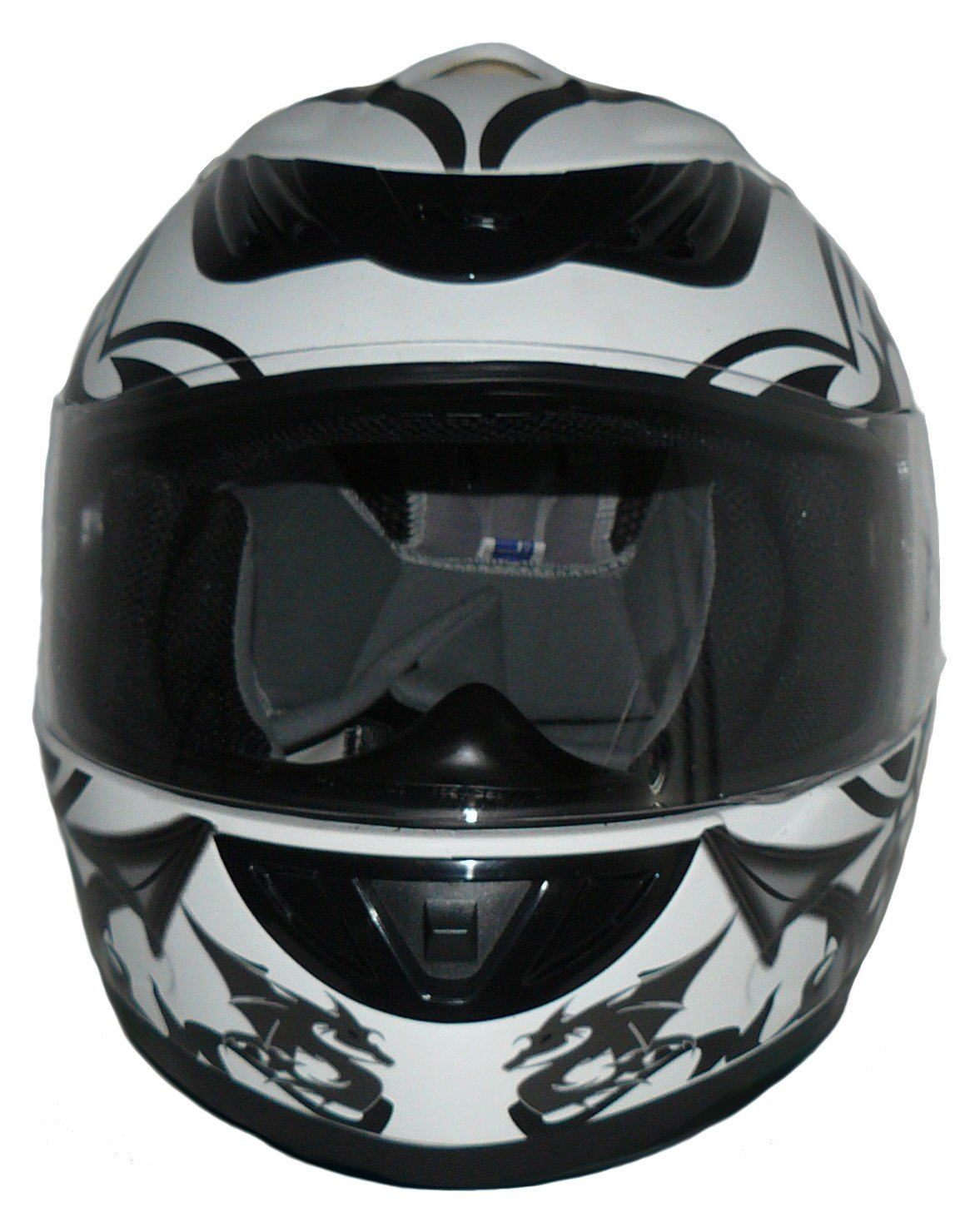 Protectwear Motorcycle helmet white grey with dragon design H510-11SW Size L
