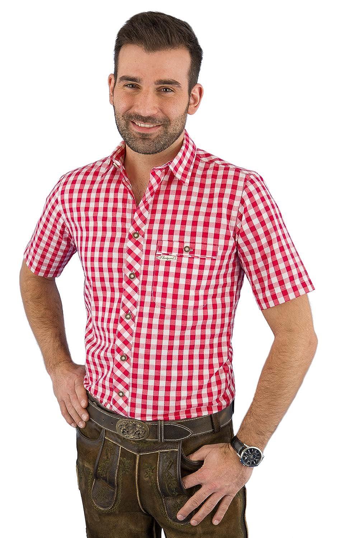 Spieth & Wensky Trachtenhemd Herren kurzarm 23141-637/2013 rot karo
