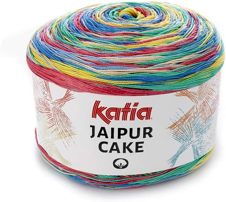 Katia Jaipur Cake Fb. 408, hilo de algodón con degradado de color Lace para tejer y ganchillo, 200 g aprox. 1100 m.: Amazon.es: Hogar