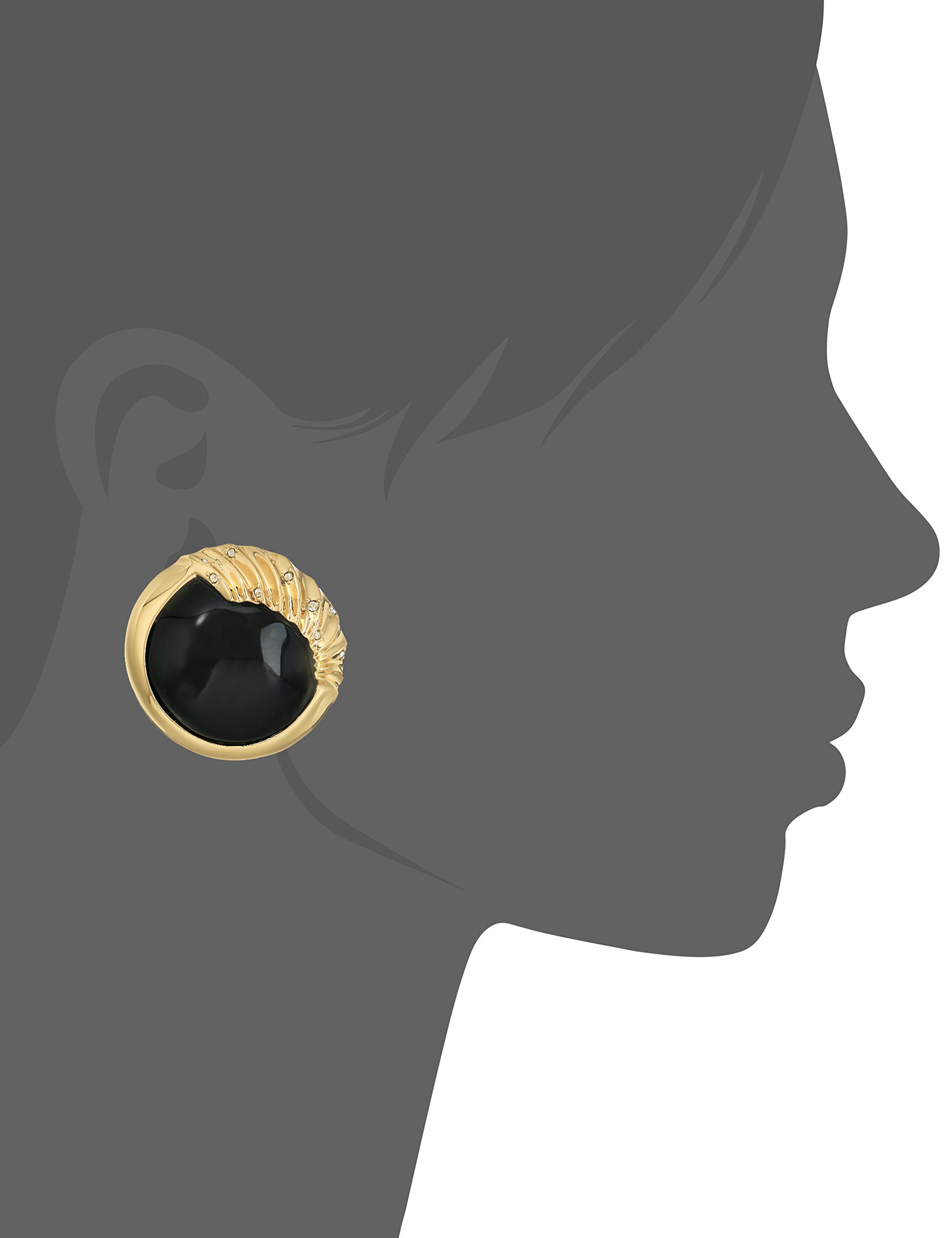 Alexis Bittar Crystal Studded Sculptural Sphere Button Black Clip-On Earrings by Alexis Bittar (Image #2)