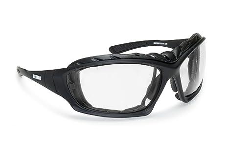 BERTONI Gafas Moto Fotocromaticas Lentes Anti-Vaho con Clip Óptico para Lentes Correctivas y Patillas Sustituibles con Banda Elastica Mod. F366