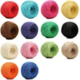 1148 Feet (383 Yards) 2mm 3 ply Colourful Natural Jute Twine - 14 Roll Jute String, Twine String for Artworks, DIY Crafts, Gift Wrapping Twine, Picture Display and Embellishments